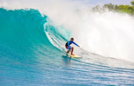 Young surfer shows off his skills at F1. PHOTO: MICKEY NATTS