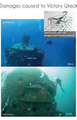 Assessment of the damages caused to MV Victory. IMAGE: ADAM ASHRAF