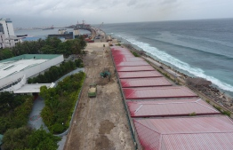 Overhead view shows the construction of Male's ring road connecting to the China-Maldives Friendship Bridge. PHOTO/HOUSING MINISTER MOHAMED MUIZZU