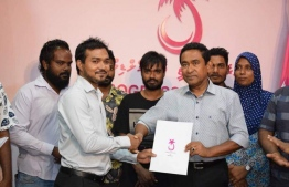 President Abdulla Yameen welcoming new members to PPM at a meeting held in PPM's official hub in the capital Male on May 28, 2018. PHOTO: PPM