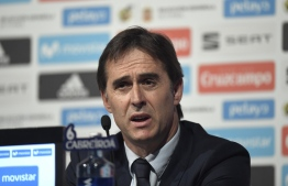 Spain's national football team coach Julen Lopetegui holds a press conference in Madrid on May 21, 2018 to announce Spain's 23-man squad for the 2018 World Cup.  / AFP PHOTO / GABRIEL BOUYS