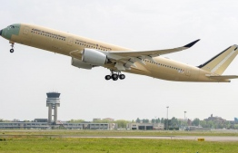 An Airbus A350-900ULR pictured during take-off: Singapore Airlines will be the first airline in the world to operate the new ultra-long-range aircraft-