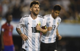 Argentina's Lionel Messi celebrates after scoring against Haiti during their international friendly football match at Boca Juniors' stadium La Bombonera in Buenos Aires, on May 29, 2018.  / AFP PHOTO / Eitan ABRAMOVICH