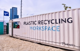 The newly unveiled Plastic Recycling Workspace in the Industrial Village, Male. PHOTO: NISHAN ALI/MIHAARU