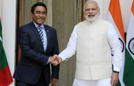 R to L: Prime Minister Narendra Modi and President Abdulla Yameen Abdul Gayoom during his meeting at Hyderabad New Delhi.