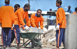 Inmates working on Housing Ministry Road Construction Project near Marry Brown. PHOTO/NISHAN ALI/ MIHAARU