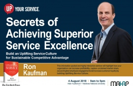 "Promotional image for Ron Kaufman's event, the""Secrets of Achieving Superior Service Excellence"", to be held in the Maldives on August 4, 2018. IMAGE/MAHRP"
