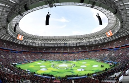 A general view during the opening ceremony before the Russia 2018 World Cup Group A football match between Russia and Saudi Arabia at the Luzhniki Stadium in Moscow on June 14, 2018. / AFP PHOTO / Mladen ANTONOV /