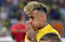 Brazil's forward Neymar reacts before the Russia 2018 World Cup Group E football match between Brazil and Switzerland at the Rostov Arena in Rostov-On-Don on June 17, 2018. / AFP PHOTO / Pascal GUYOT /