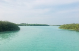 The entrance to Farukolhu's lagoon, a vision streaked in shades of blue and green, as far as the eye can see. PHOTO: RAE MUNAVVAR