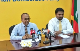 MDP Press briefing - MDP Chairperson Hassan Latheef. PHOTO/MDP