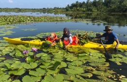 People canoeing in the nature park in Fuvahmulah. PHOTO/SIPPE