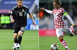 (COMBO) This combination of pictures created on June 19, 2018 shows Argentina's forward Lionel Messi in Moscow on June 16, 2018 (L) and Croatia's midfielder Luka Modric in Rijeka on October 6, 2017.  Argentina will play Croatia in their Russia 2018 World Cup Group D football match at the Nizhny Novgorod Stadium in Nizhny Novgorod on June 21, 2018. / AFP PHOTO / Mladen ANTONOV AND STR