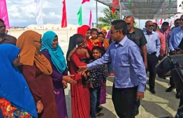 President Abdulla Yameen Abdul Gayoom during an official visit to an island in Shaviyani Atoll. PHOTO:PRESIDENT'S OFFICE