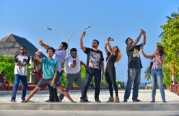 The 'cast and crew' of Space Parade. PHOTO: HUSSAIN WAHEED/MIHAARU