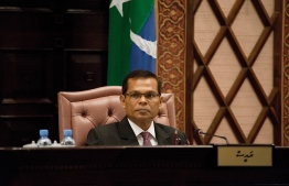 Parliament Speaker Abdulla Maseeh during a sitting. PHOTO/PEOPLE'S MAJILIS