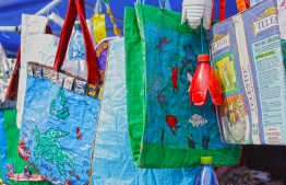 Reusable bags made by participants of Lhaviyani Turtle Festival. PHOTO: HAWWA AMAANY ABDULLA/ THE EDITION