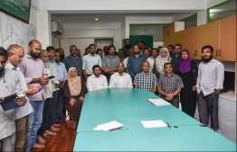 Adhaalath Party and their leaders with President Ibrahim Mohamed Solih. PHOTO: HUSSAIN WAHEED/MIHAARU