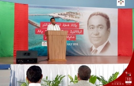 President Abdulla Yameen speaks to residents of M.Dhigaaru during an official trip in July 2018. PHOTO/PRESIDENT'S OFFICE