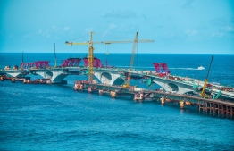 The China-Maldives Friendship Bridge - the two ends of the bridge were joined on July 9, 2018. PHOTO: NISHAN ALI/MIHAARU