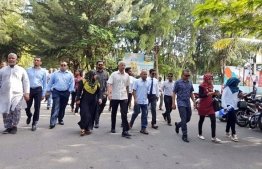 Opposition coalition presidential candidate Ibrahim Mohamed 'Ibu' Solih and his campaign team arriving in Hulhumale as part of the door-to-door campaign.