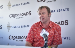 "A+E Networks Asia's Director and Executive Producer Chris Humphrey speaks to the press about ""Making Mega in Maldives"", a new documentary series on the development of Crossroads in Emboodhoo lagoon. PHOTO: NISHAN ALI/MIHAARU"