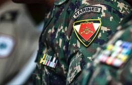 A close-up of an MNDF Marine's badge. PHOTO/MIHAARU
