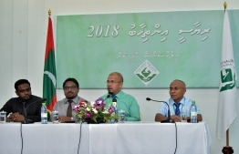 July 12, 2018: EC's President Ahmed Shareef (L) speaks to the press regarding the upcoming Presidential Election 2018. PHOTO: AHMED NISHAATH/MIHAARU