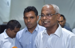 "Hinnavaru MP Ibrahim ""Ibu"" Mohamed Solih speaks to press at MDP's main hub on July 17, 2018. PHOTO: AHMED NISHAATH/MIHAARU"
