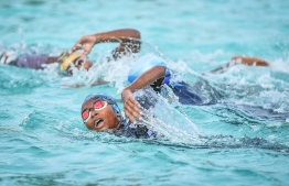 During the National Open Water Swimming competition held in K.Dhiffushi on July 20, 2018. PHOTO: NISHAN ALI/MIHAARU