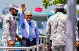 Former President Maumoon Abdul Gayoom being brought to the capital by Maldives Correctional Service for a court hearing.  PHOTO: AHMED NISHAATH/ MIHAARU
