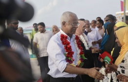Opposition coalition candidate and main opposition Maldivian Democratic Party (MDP) member Ibrahim Mohamed Solih during his campaign trip to nine islands of Baa atoll.
