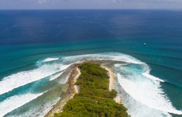 Aerial view of Thanburudhoo island, a special surfing location in the Maldives that was successfully sought for protection by local surfers when threatened with privatisation of waves in 2014. PHOTO: FOUR SEASONS