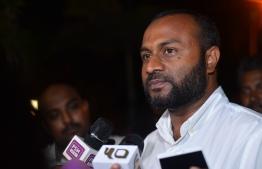 Dr. Mohamed Shaheem Ali Saeed speaks to the press. PHOTO: NISHAN ALI/MIHAARU