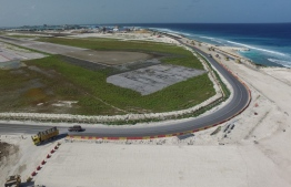 Aerial view of the Hulhule-Hulhumale link road, beginning off the southern end of VIA's runway. PHOTO/MACL