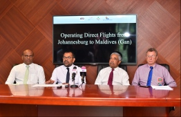 During the press conference held to announce direct flights from Johannesburg to Gan in Maldives. PHOTO: HUSSAIN WAHEED/MIHAARU
