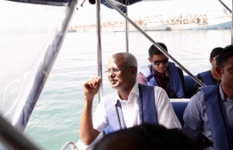 "Hinnavaru MP Ibrahim ""Ibu"" Mohamed Solih, the presidential candidate from the opposition coalition, pictured during his campaign trips to the atolls. PHOTO/MDP"