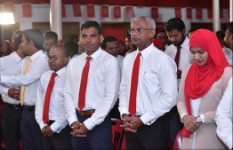 "Hinnavaru MP Ibrahim ""Ibu"" Mohamed Solih (R-2), the joint opposition's presidential candidate for the Presidential Election 2018, participates in Jumhoory Party's 10th anniversary celebration on August 3, 2018. PHOTO: HUSSAIN WAHEED/MIHAARU"