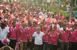 Hordes of PPM supporters turn out for the ruling party campaign held in Hulhumale on August 4, 2018. PHOTO/MIHAARU