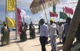 Opposition coalition's presidential candidate Ibrahim Mohamed Solih receives a traditional welcome at L. Isdhoo. PHOTO/MIHAARU
