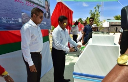 President Abdulla Yameen inaugurates the harbour and attends the ceremony to mark the completion of beach protection project in GDh.Madaveli. PHOTO/PRESIDENT'S OFFICE