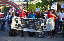 Suvaalu March organised by Rilwan's family following his disappearance, calling for a proper investigation. PHOTO: HUSSAIN WAHEED/ MIHAARU