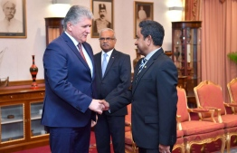 United Nations Assistant Secretary-General for Political Affairs, H.E. Miroslav Jenča (L) with President Abdulla Yamee Abdul Gayyoom. PHOTO: PRESIDENTS OFFICE