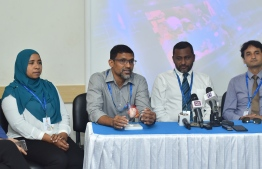 Dr. Mohamed Shafiu speaks during press conference held regarding the first open-heart surgery performed in the Maldives at ADK Hospital. PHOTO: AHMED NISHAATH/MIHAARU