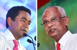 Composite image of President Abdulla Yameen Abdul Gayoom (L) and opposition coalition's presidential candidate Ibrahim Mohamed Solih. IMAGE/MIHAARU