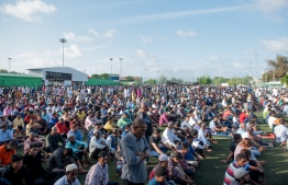 August 21, 2018, Male City: Mass congregation for Eid prayer on Eid al-Adha. PHOTO: AHMED NISHAATH/MIHAARU