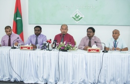 Members of the Election Commission speak to the press about the Presidential Election 2018. PHOTO: AHMED NISHAATH/MIHAARU
