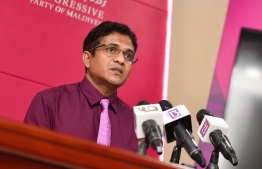 MP Ahmed Nihan speaking at a previous conference. PHOTO: HUSSAIN WAHEED / MIHAARU