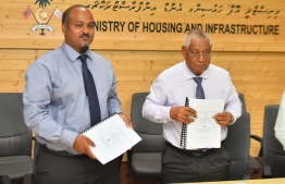 The housing ministry signs to award development projects of three islands. PHOTO: AHMED NISHAATH/MIHAARU
