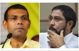 Former President and MDP leader Mohamed Nasheed (L) and Jumhooree Party (JP) founder Qasim Ibrahim. PHOTO: MIHAARU